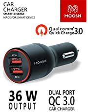Moosh QC 3.0 Quick Charger Dual Port 36 W Turbo Car Charger Smart Power LED (Black)