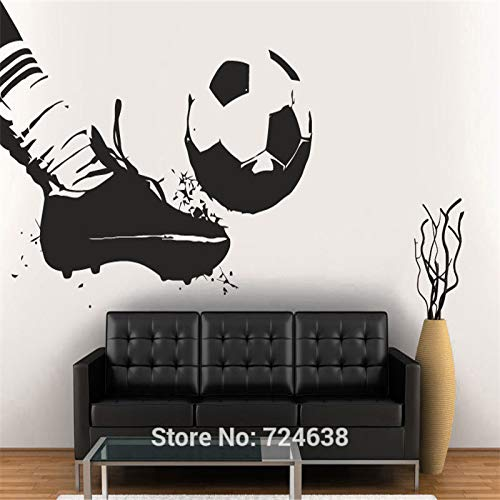 jiushizq Vinyl Wandtattoo Fußball Spieler Team Ball Stiefel Kinder Sport Fußball 56x Weiß 84x135cm -