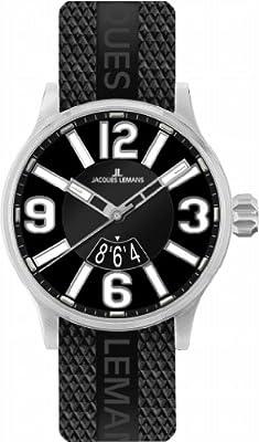 Jacques Lemans 1-1673A - Reloj analógico de cuarzo para hombre con correa de caucho, color negro de Jacques Lemans