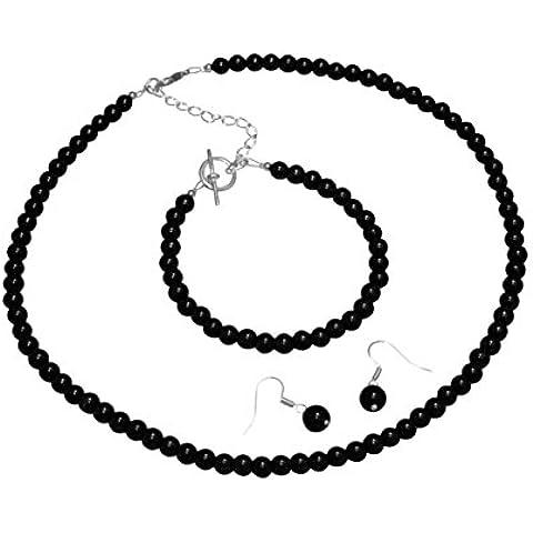Nero jet-Parure in perle di vetro con orecchini, bracciale.
