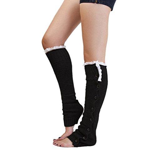 1 Paar Damen Spitzenbesatz Strick Stiefel Abdeckung Socken Beinstulpen Schwarz (Acryl Damen-socken)