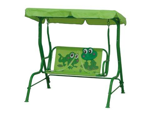 Siena Garden 672608 Froggy Kinderschaukel Dach mit Froschmotiv L 77,5 x B 108 x H 125 cm