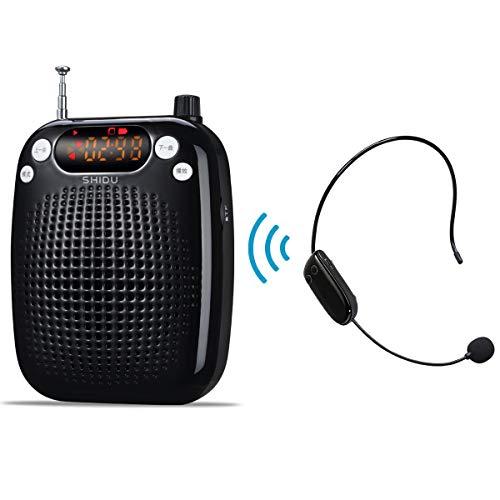 Amplificateur vocal, système de sonorisation portable rechargeable 10W haut-parleur sans fil avec microphone SHIDU avec microphone sans fil FM pour enseignants, yoga, guides touristiques