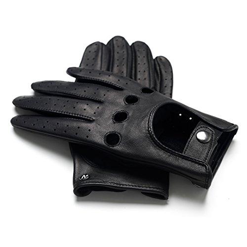 napo gloves napoDRIVE - Touchscreen Lederhandschuhe für Herren, klassische Autohandschuhe aus Lammnappa Leder, Schwarz, L