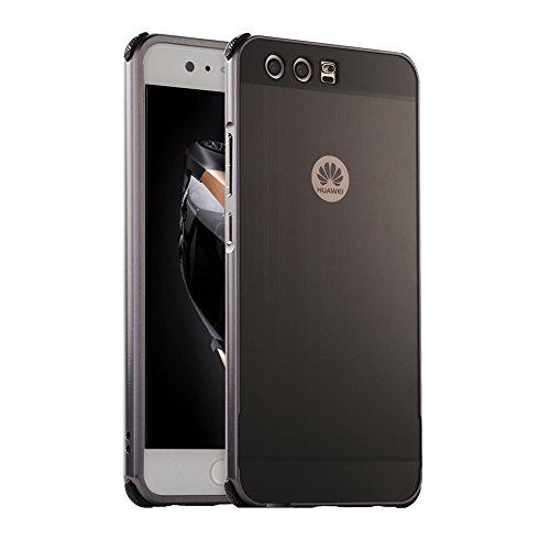 """Custodia Huawei P10Plus, cover metallica Huawei P10Plus, Huphant Luxus, cover in alluminio 2in 1 (bumper di lusso in metallo e custodia posteriore in plastica) [serie in metallo spazzolato], antiurto, custodia protettiva in metallo, custodia in alluminio 2in 1,custodia slim per Huawei P10Plus (5,5"""") e 1 penna da touch screen nera, WRAY-AA-000075, - Black"""