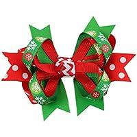 FOUGNOGKISSS Regalo bonito de la decoración del pelo del clip de pelo de Bowknot de la Navidad