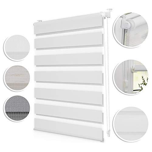 ROOMY Duo-Rollo Klemmfix   90 x 150 cm   in Weiß, blickdichtes Doppelrollo für Fenster und Türen, einfache Montage Dank Click-System, ohne zusätzliches Bohren, moderner Sicht- und Sonnenschutz