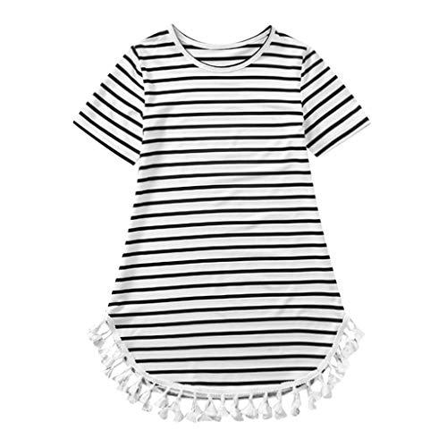 squarex  Mommy & Me Kids Mädchen Kurzarm Gestreiftes Sommerkleid Quaste Kleid Familie Passende Kleidung Eltern-Kind-Kleidung Freizeitrock