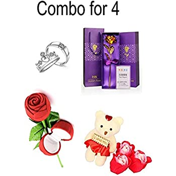 Mixunbox Fabric Heart-Shaped Box with Teddy and Roses Combo for 4