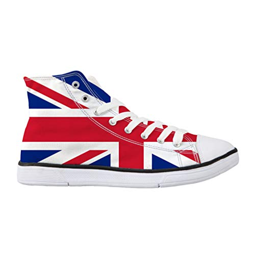 Nopersonality The Union Jack Canvas Shoes Lace Up Women Adult Youth Vintage Hi Top Trainers Walking Breathable Comfort Fashion Sneakers