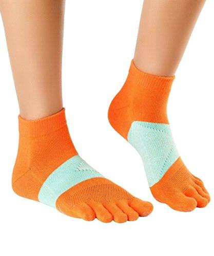 Knitido MTS Ultralite   Calzini con Dita da Corsa in Tessuto respirante Coolmax®, Misura:39-42, Colore:211 Arancione/Rosa