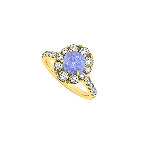 Newest December Birthstone Tanzanite and CZ Engagement Ring in 18K Yellow Gold Vermeil 2 Carat - 2ct Ring Cz Engagement