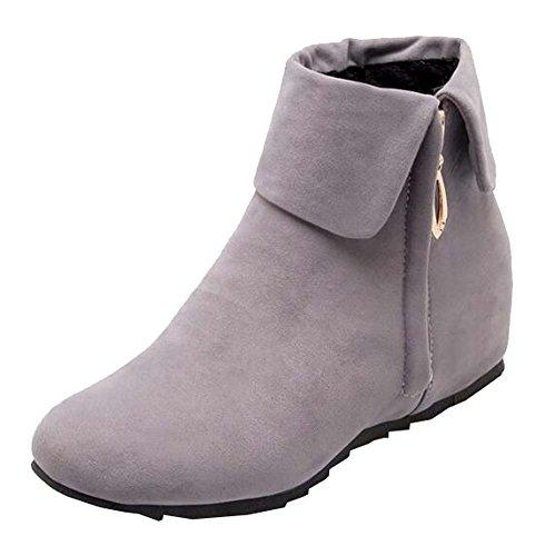 Neu Herbst und Winter Damen stiefel Nubukleder flache Stiefel Grau