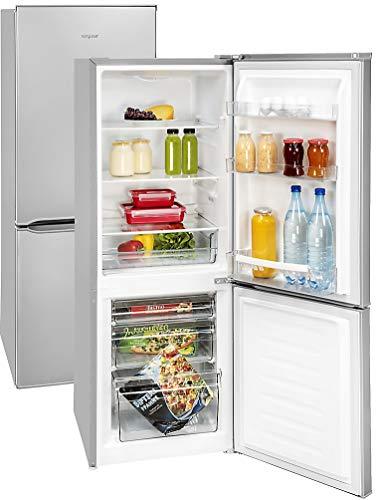 Kühl Gefrierkombi Silber | Stand Kühlschrank | Energieeffizienz A++ | 165 Liter Nutzvolumen insgesamt | NUR 39dB - Sehr leise | LED Innenraumbeleuchtung im Kühlraum | Wechselbarer Türanschlag