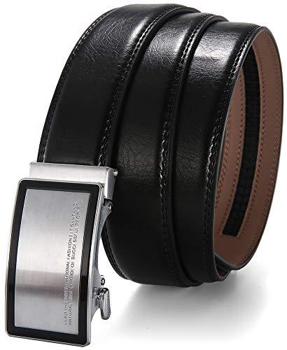 Wetoper Cinturón de cuero para hombres Ajuste,Sencillo y clásico, con hebilla automática.35mm Ancho (No:11, 130cm/34-44 cintura ajustable)