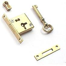 RZDEAL - Cerradura cuadrada de latón para cajón de cobre, estilo europeo envejecido