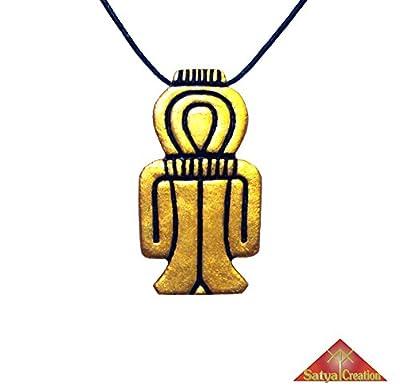 Nœud Tit, Nœud d'Isis en pendentif, couleurs or et noir, en argile, amulette égyptienne, Égypte Ancienne, Déesse Isis, cadeaux de Noël, cadeaux pour elle, cadeaux pour lui, idée cadeau, anniversaire