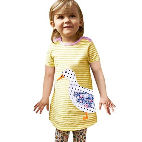ädche Prinzessin Kleid,Tiere Applikationen Maxikleid Niedlich Partykleid Sommerkleid Outfits Baby Knielänge Kurzarm Strandkleid Minikleid Tüllkleid Kinderkleidung (140, Gelber) (Tier-outfits)