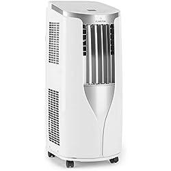 KLARSTEIN New Breeze 7 - Climatisation, Climatiseur, Ventilateur, 7000 BTU/h, 2,6 KW, De 16 à 30 ° C, Classe A, Tuyau d'évacuation Inclus, Télécommande, Écran LCD, Roues incluses, Blanche