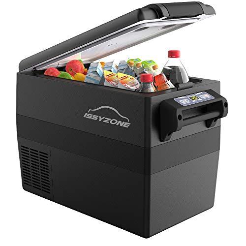 ISSYZONE Kompressor Kühlbox Gefrierbox, 42L elektrischer tragbarer Kühlschrank, -20 bis 10 ° C, mit Batteriewächter, 12 V und 230 V für Auto, LKW und Steckdose