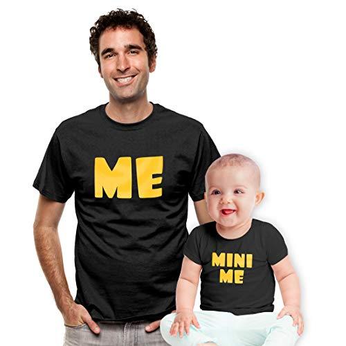 Partner Outfit Geschenkidee - Me Mini Me - Baby und Papa Tshirts Man Schwarz Medium/Baby Schwarz 12-18 Monate / 86 -