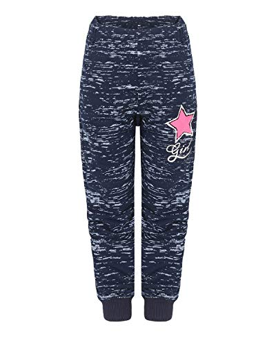 SEZON Mädchen Jogginghose mit Stern Sweathose Freizeithose Sporthose Streetwear (Navy, 134)