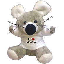 Llavero de ratoncito de peluche con Amo Quechua en la camiseta (nombre de pila/apellido/apodo)
