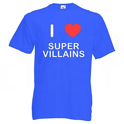 I Love Super Villains - T-Shirt Blau
