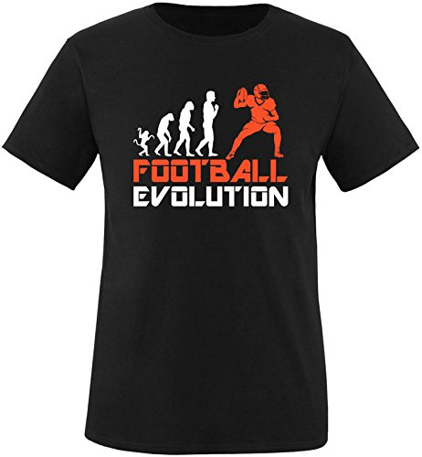 EZYshirt® Football Evolution Herren Rundhals T-Shirt Schwarz/Weiss/Orange