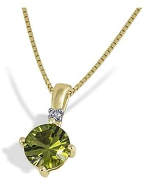 Goldmaid Damen-Halskette 333 Gelbgold 1 Peridot 1 Diamant Kettenanhänger Brilliant Schmuck