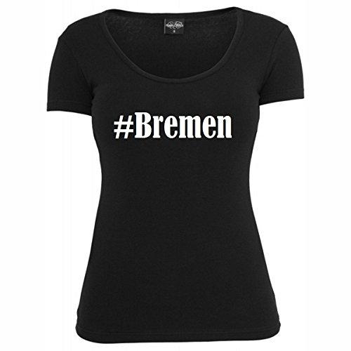 T-Shirt #Bremen Hashtag Raute für Damen Herren und Kinder ... in den Farben Schwarz und Weiss Schwarz