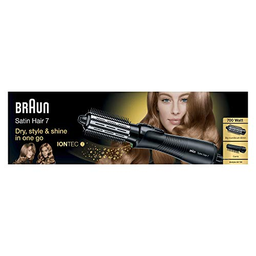 Braun Satin Hair 7 Airstyler Warmluft-Lockenbürste AS 720, mit IonTec, inkl. Kamm-und Bürstenaufsatz, 700 Watt (Braun Haar-styler)