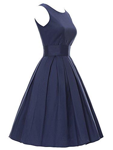 YAZACO Damen 50er Retro Ohne Arm Kleid Casual Abendkleider Partykleid Cocktailkleid Floral 10