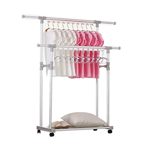 Trockengestelle Trockner Wäscheständer Indoor Aluminiumlegierung Kleiderbügel drückbar mit Rolle (Farbe : Gray)