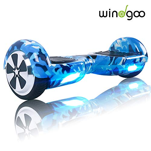 Windgoo N1 Overboard Hoverboard, 6.5 Pulgadas 250W 2WD Glyboard, Actualiza con Altavoces Bluetooth & Luz LED, Regalo para Niño Adulto...