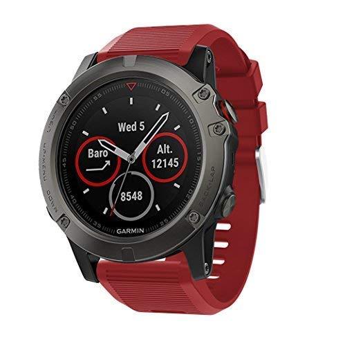 SUPORE Correa para Garmin Fenix 5X, Suave Silicona Banda de Reemplazo para Garmin Fenix 5X Sapphire Multisport 51mm GPS Watch/Fenix 3/ Fenix 5X Plus Smart Watch Pulsera