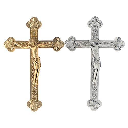 Holyart Kruzifix mit den 4 Evangelisten, Gold oder Silber Finish, Vergoldet