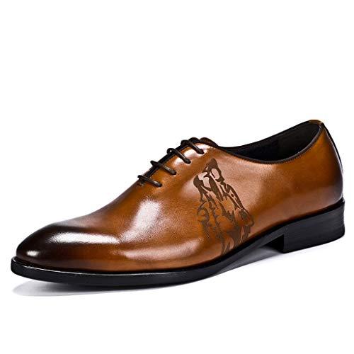 GanSouy Herren Schwarzes Leder Schnürschuhe Hochzeit Formelle Kleidung Oxfords Braun Business und Alltagskleidung Büro Spitzschuh Derby Low-Top Schuhe,A- 6 UK / 40 EU -
