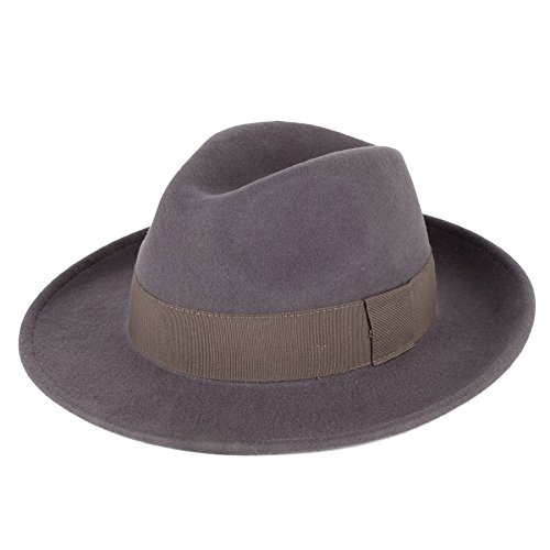 Hommes Femmes Chapeau Fedora Casquette Slate Grey