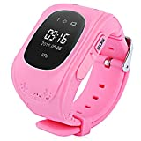 Bambini Smartwatch, GPS Tracker Locator Kids Orologio SOS Braccialetto Kids anti-perso Watch Chiamate Bidirezionali Sicurezza di Bambino Compatibile con iPhone IOS Android Smartphone Q50 (Rosa)