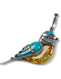 "Classic Baltic Yellow Amber, Turquoise and Silver Blue Tit Bird Pendant on a 16.5"" Silver Chain"