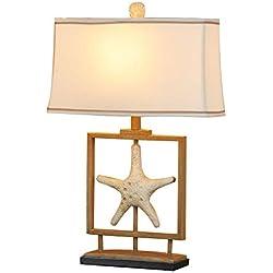 HYW Luz de Lectura Ideal- Estilo escandinavo Rural Retro mediterráneo Creativo lámpara de Mesa de decoración Cuadrada Retro Dormitorio salón Estudio de mesita de Noche lámpara de Mesa - iluminación