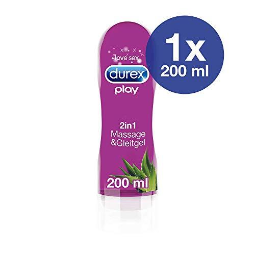 Durex Gleitgel Play 2-in-1 Massage Aloe Vera - Wasserbasiertes Gleitgel mit pflegenden Aloeveraextrakten für sinnliche Liebesmassagen - 1 x 200 ml im Spender