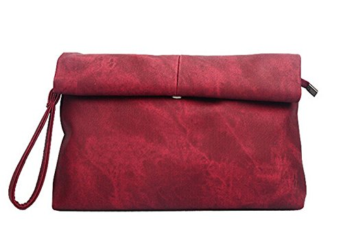 PB-SOAR Damen Vintage Clutch Handtasche Abendtasche Unterarmtasche Umhängetasche (Schwarz) Weinrot