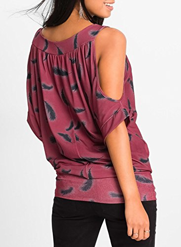 ACHICGIRL Women's off Shoulder Pullover Printed Tee Shirt Burgundy