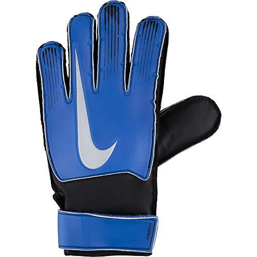 Nike NK GK Match jr-fa18Guanti di Portiere, Unisex Bambini, Unisex Bambini, GS0368, Blu (Racer Blue)/Nero/Argento Metallizzato, 8