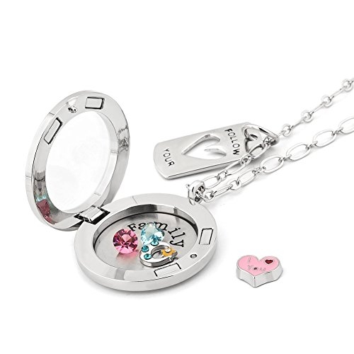 Pugster I Love You To The Moon And Back Medaillon Halskette mit schwebenden Familien-Glücksbringern/Charms-Erinnerungstücken