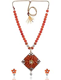 Tapestry Mart Orange Alloy Strand Necklace Set For Women (NS-06)