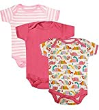 #8: NammaBaby MultiColor Romper BodySuit Onesies for New Born Baby Pack Of 3 (0-3 Months) PINK