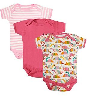 NammaBaby MultiColor Romper BodySuit Onesies for New Born Baby Pack Of 3 (3-6 Months) PINK